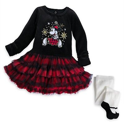 Disney Store Minnie Mouse Holiday Tutu Dress Set for Baby Christmas Outfit 18/24
