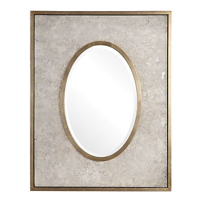 """Aged Mottled Gray Silver Oval Rectangle Wall Mirror 