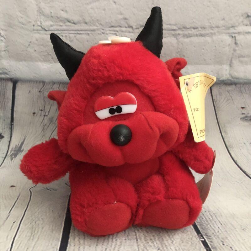 Vtg DanDee Red Devil Bear Plush Stuffed AnimalLil Devil Black Horns W/tags Rare