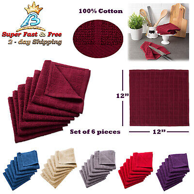 Windowpane Dish Cloths Catering Tea Kitchen Bar Absorbent Hand Towels Set Of