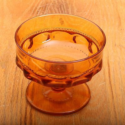 Amber Ice Glass Bowl - Indiana Glass Company Amber Kings Crown Thumbprint Sundae Ice Cream Bowl
