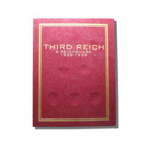 Third Reich Silver 2 Reichsmark 1936-1939 Coin Folder Flat Opening Album
