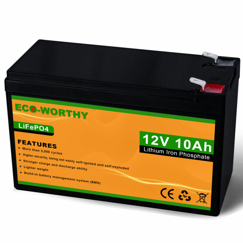 ECO 12V 10Ah Battery Lithium Iron Phosphate  Deep Cycle LiFePO4 Battery 120 Wh