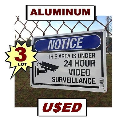 - 3 USED Warning Store Home Security Cameras 10x14 Aluminum METAL Yard Signs