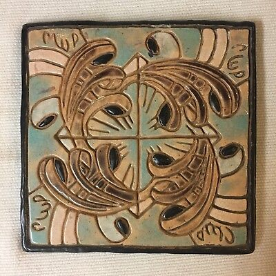 ANTIQUE MEXICAN? CLAY ART TILE ~ HAND DECORATED INTRICATE DESIGN TURQUOISE BROWN