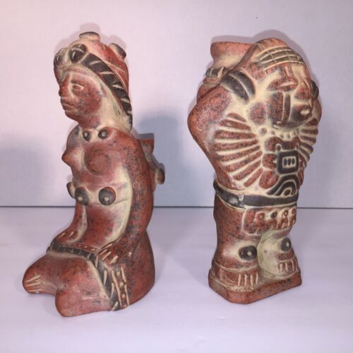 Ancient Rare South American Archaeological Artifact Two Clay Figurine Sculptures