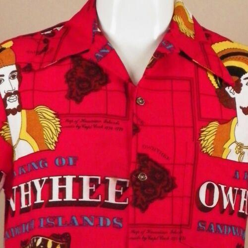 Vintage Ui Maikai Hawaiian Mens Large Shirt Bark Cloth Owhyhee Sandwich Islands