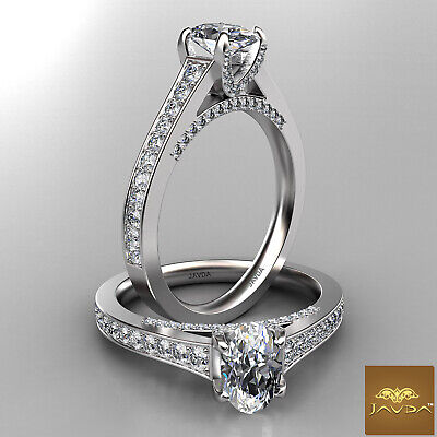 Pave Set Bridge Accent Oval Diamond Engagement Cathedral Ring GIA F SI1 1.25 Ct