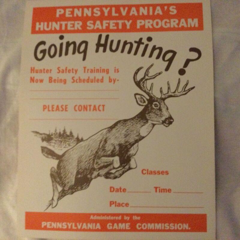 PA Game Commission Hunter Safety Program Poster w/ Buck Illustration Vintage