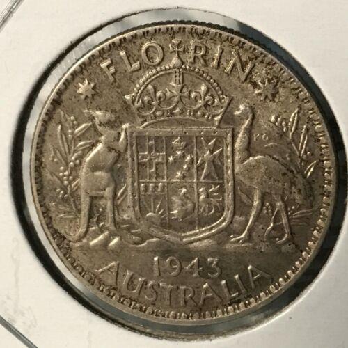 1943 AUSTRALIA SILVER FLORIN NICE COIN
