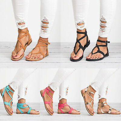 9c02dc080e2ce Women Summer Flip Flops Sandal Cross T Strap Thong Flat Buckle Beach Shoe  Size