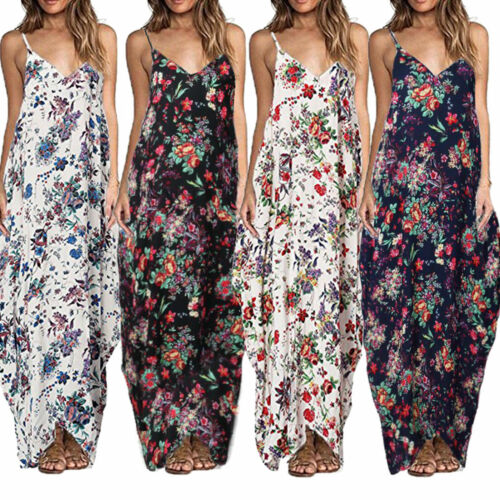 Women Boho Floral Long Maxi Dresses Summer Beach Travel Cocktail Party Sundress Clothing, Shoes & Accessories