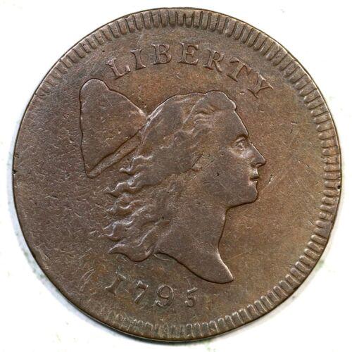 1795 C-5a R-3 Pl Edge Thin Plan Liberty Cap Half Cent Coin 1/2c