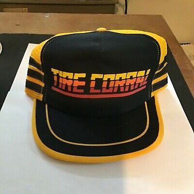 Vintage 80s Dead Stock TIRE CORRAL Mesh Trucker Hat Snapback Cap 3 Stripe USA