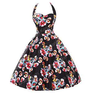 fast London ROCKABILLY Vintage 1950s style Floral Summer Party Prom Swing dress