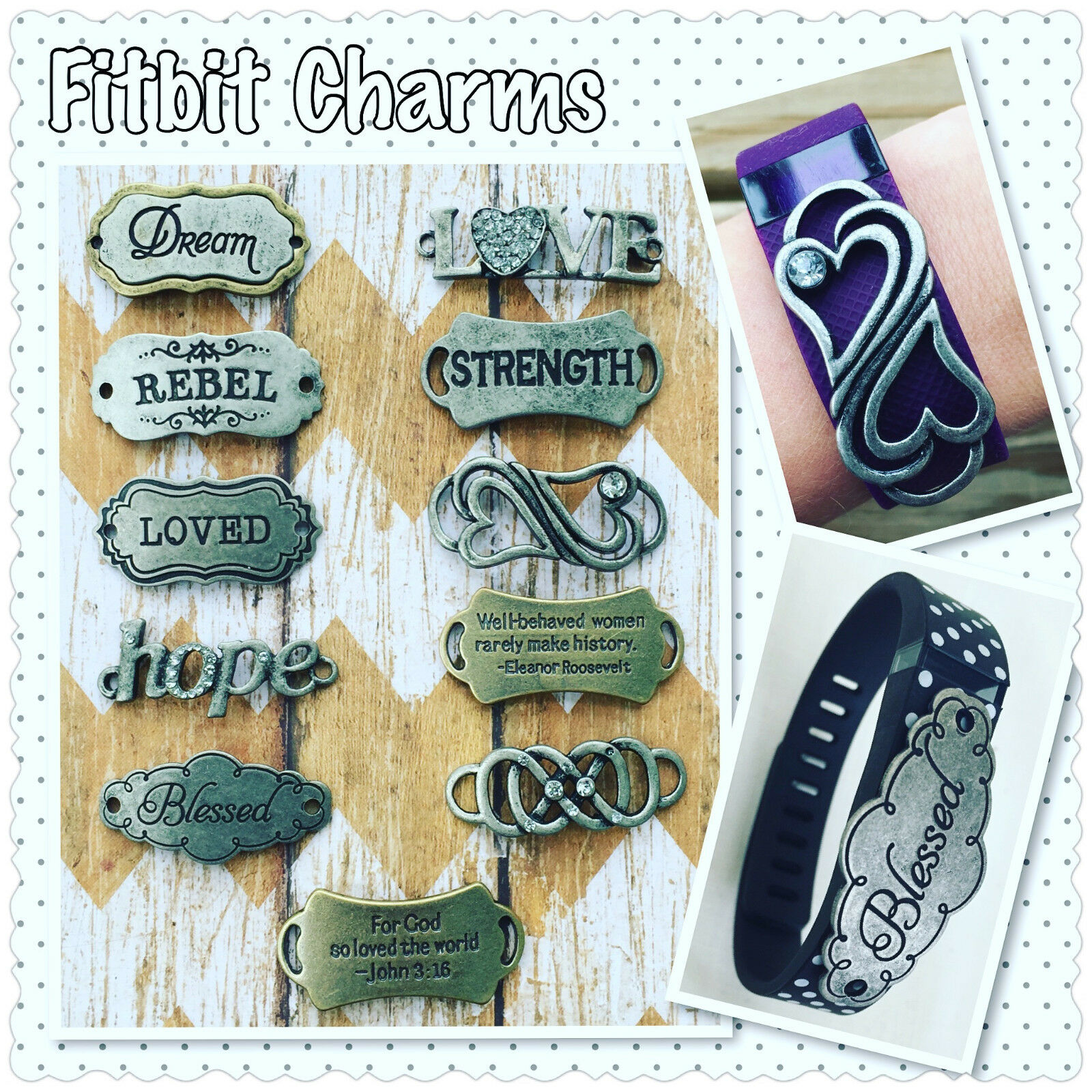 $14.99 - Fitness Tracker Charm Jewelry Accessory Bling Fitbit Charge 2 HR Blaze Surge
