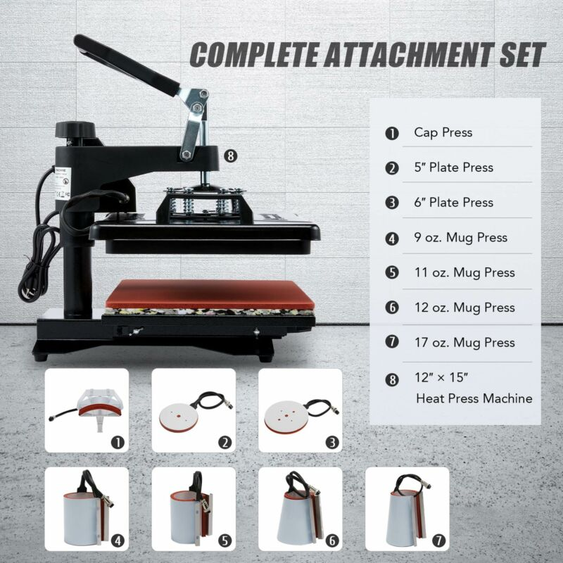 12 x15 8 In 1 Heat Press Machine Multifunction Digital Transfer Sublimation - $61.48