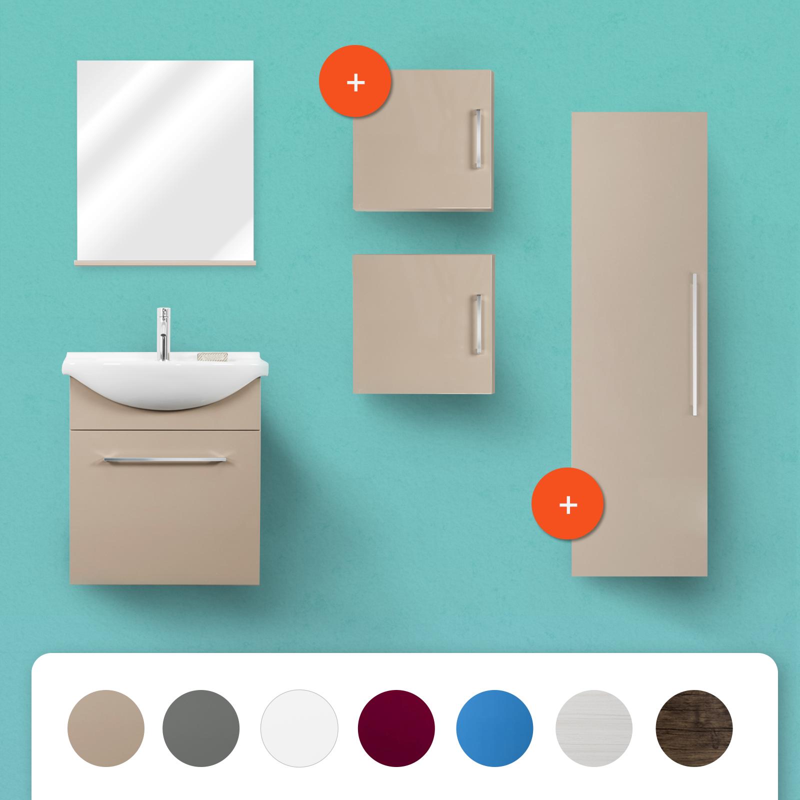 Mobile bagno sospeso moderno in legno lavabo in ceramica con specchio e mensola