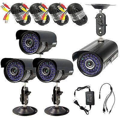 4*1200TVL CCTV Surveillance Security Waterproof Outdoor Day Night Camera +CableS