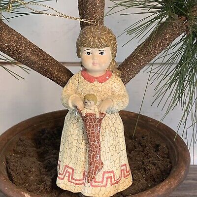 """Bethany Lowe Christmas Little Girl with Stocking Doll Ornament 2.5'' W x 5.5"""" H"""