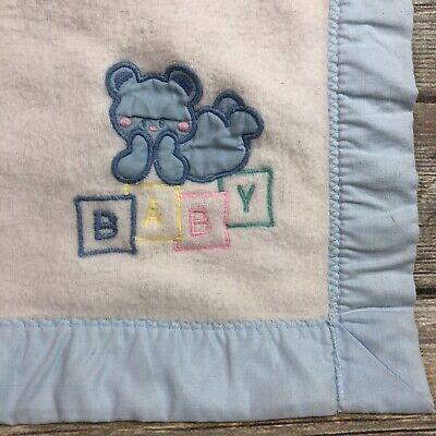 Vintage Cuddle Time Baby Blanket Teddy Bear ABC White Pastel Blue Trim