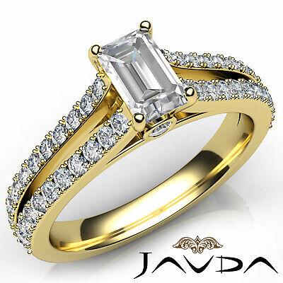 Classic 4 Prong Split Shank Emerald Diamond Engagement Ring GIA F VS2 1.15 Ct