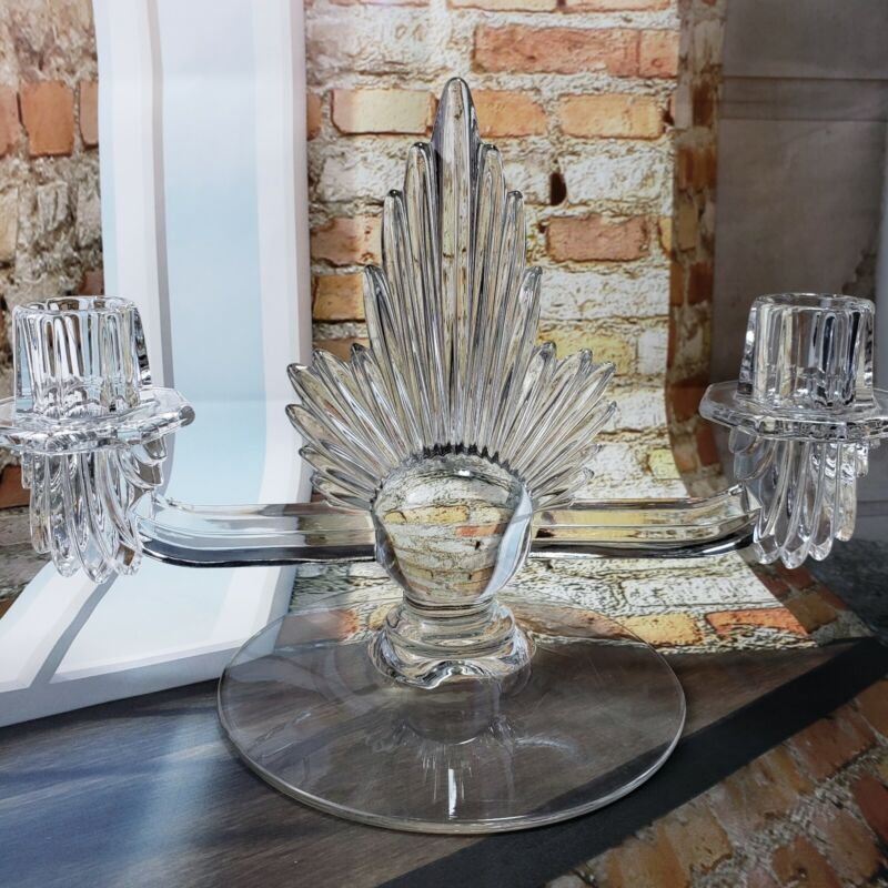 FOSTORIA PAIR ART DECO CLEAR GLASS DOUBLE CANDLESTICK CANDLE HOLDERS