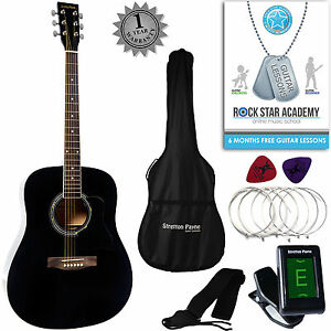 Acoustic Guitar String Size : acoustic guitar package full size steel string dreadnought guitar pack black ebay ~ Vivirlamusica.com Haus und Dekorationen