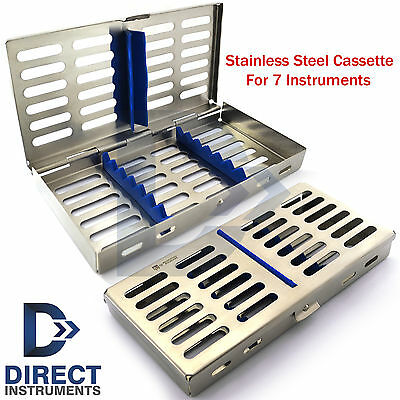 Stainless Steel 7 Pcs Dental Instruments Mesh Tray Cassette Sterilization Box Ce