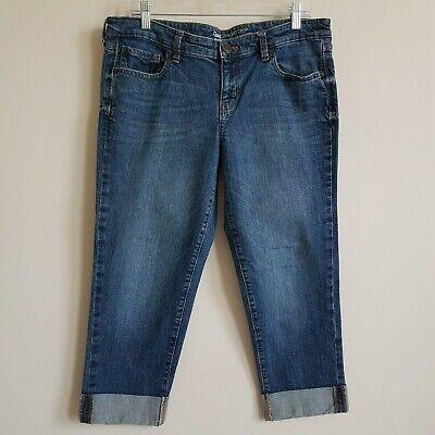 Gap Straight Crop Jeans Cropped Denim Cuffed Stretch Women's Size 14/32 (35/23) (Stretch Denim Cuffed Cropped Jean)