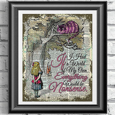 ART PRINT ORIGINAL ANTIQUE BOOK PAGE Cheshire Cat Alice in Wonderland Dictionary