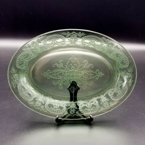 Vintage Indiana Glass Horseshoe Green Oval Platter 11.75""
