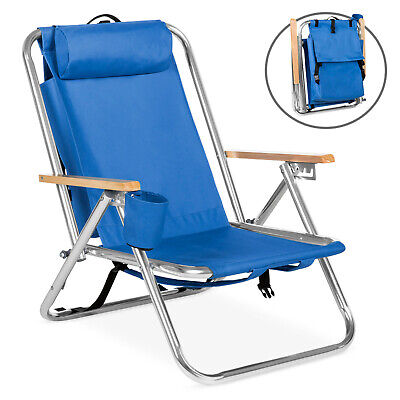 Bahama 5 Position BLUE Backpack Beach Chair with Cup (Best Backpack Beach Chair)
