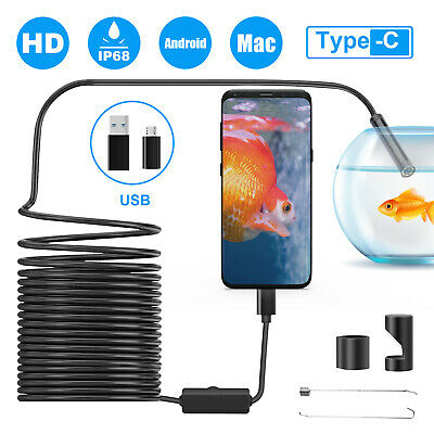 5m 8led Endoscope Borescope Inspection Snake Camera Usb C Waterproof For Android