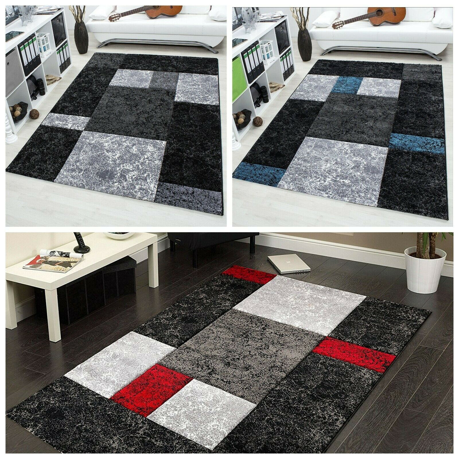 Red Black Blue Heavy Thick Rug