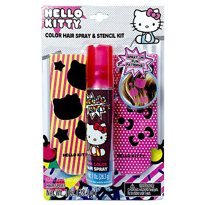 3pc Hello Kitty Color Hair Spray Stencils Stars & Bows PINK TEMPORARY DYE New! - Hair Dye Spray Temporary