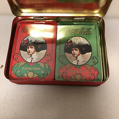 VINTAGE Coca Cola GIBSON GIRLS Playing Cards Full Deck w/tin Red Green Christmas