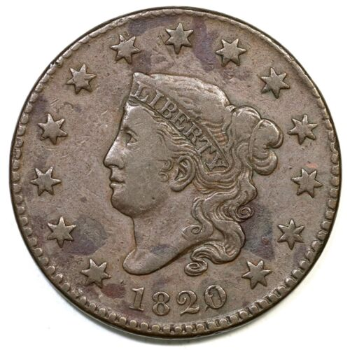1820 N-5 Matron or Coronet Head Large Cent Coin 1c