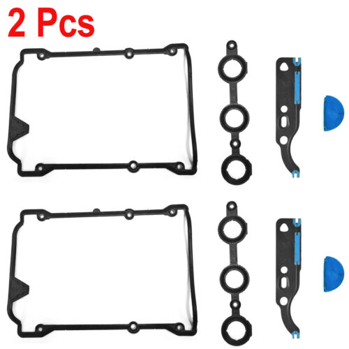 2Pcs Valve Cover & Cam Chain Gasket Sets For Audi Volkswagen Passat V6 2.7L 2.8L