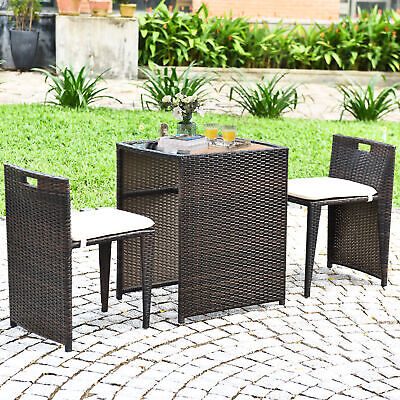Garden Furniture - 3PCS Cushioned Wicker Patio Furniture Set Rattan Seat Sofa Outdoor Garden Brown