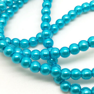 3mm Glass Faux Pearls strand - Caribbean Blue  (230+ beads) jewellery making