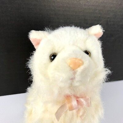White Long Hair Cat Plush Toy by Zany Brainy Stuffed Animal Pink Bow Nose 6""
