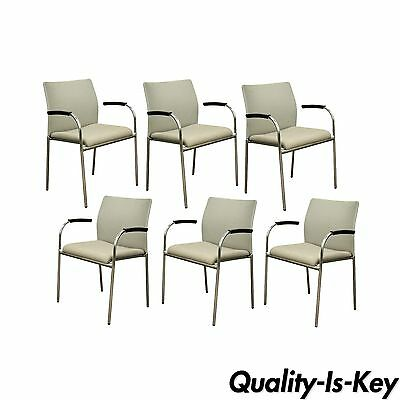 6 Keilhauer Flit-3813 Modern Chrome Dining Office Stacking Floating Arm Chairs