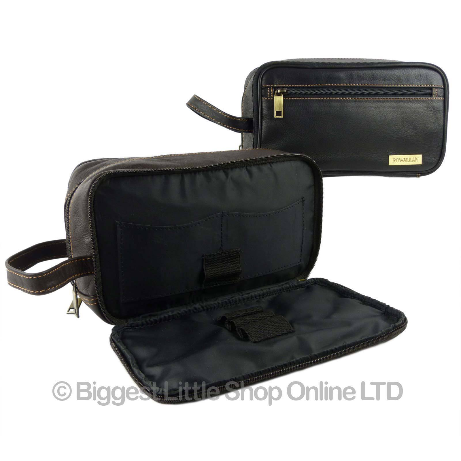 f1246990e377 Details about NEW Mens QUALITY Leather Wash Bag by Rowallan Travel Black  Brown Handy Stylish