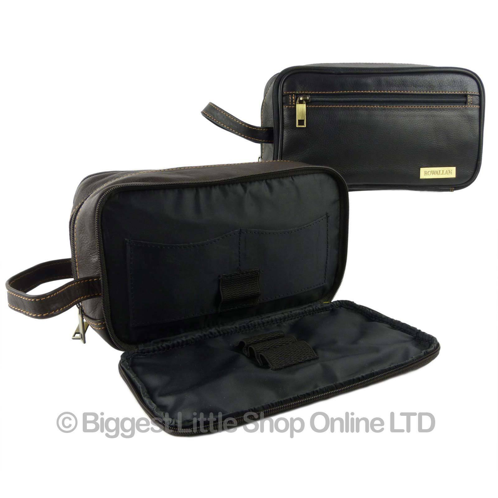 Details about NEW Mens QUALITY Leather Wash Bag by Rowallan Travel Black  Brown Handy Stylish 4ae002125999e