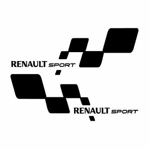 x2 pair renault sport rs twingo clio megane car logo stickers decals white. Black Bedroom Furniture Sets. Home Design Ideas
