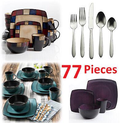Square Dinnerware Set For 8 77Pcs Stoneware Kitchen 32Pc Plates Bowls Dishes -