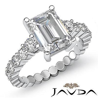 Classy Emerald Diamond Bezel Set Engagement Ring GIA G VS2 14k White Gold 1.7 ct