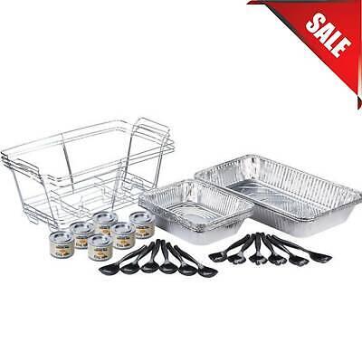 30 Pc. Full Size Disposable Buffet Serving Set Chafer Dish Kit Serving Utensils