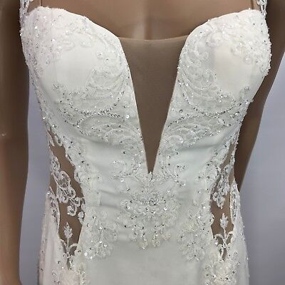 Ivory Wedding Dress Sz 10 David's Bridal Galina Sequins Lace With Veil
